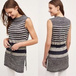 L DOLAN Anthropologie striped sleeveless tunic